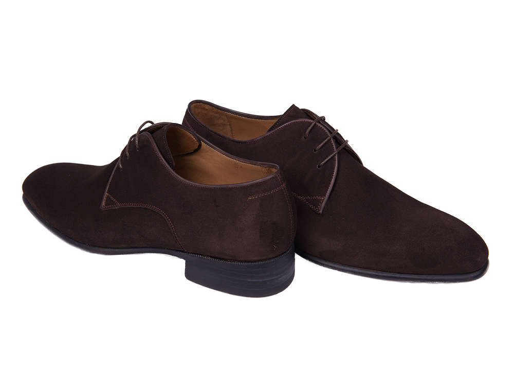 ab120638d0e4 Dark Brown Plain-Toe Suede Derby Shoes – Murat Erbaş Shoes