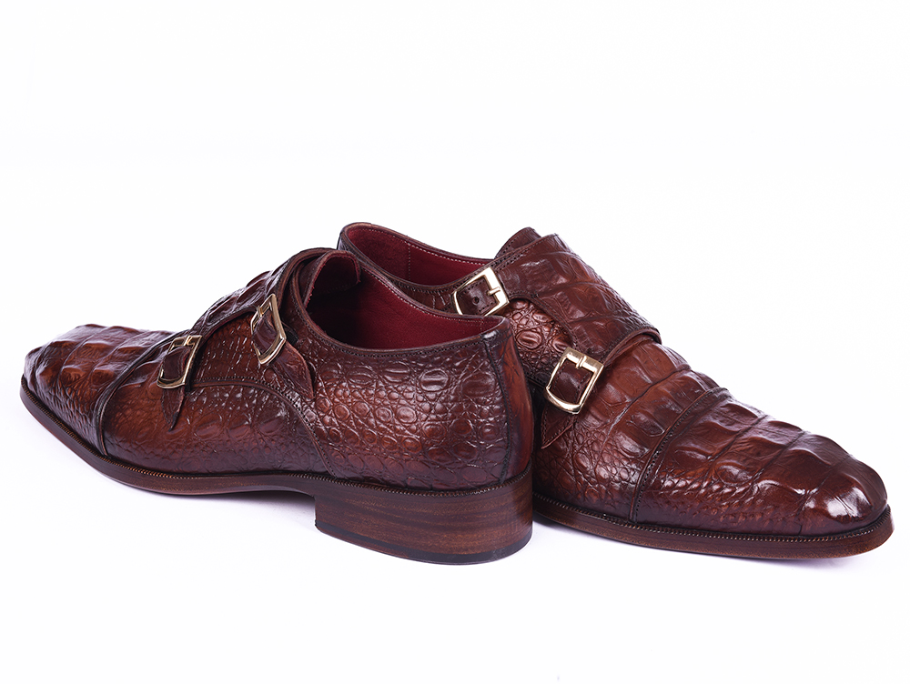 6c046fbcda5c Brown Crocodile Embossed Double Straps in Monk Style – Murat Erbaş Shoes